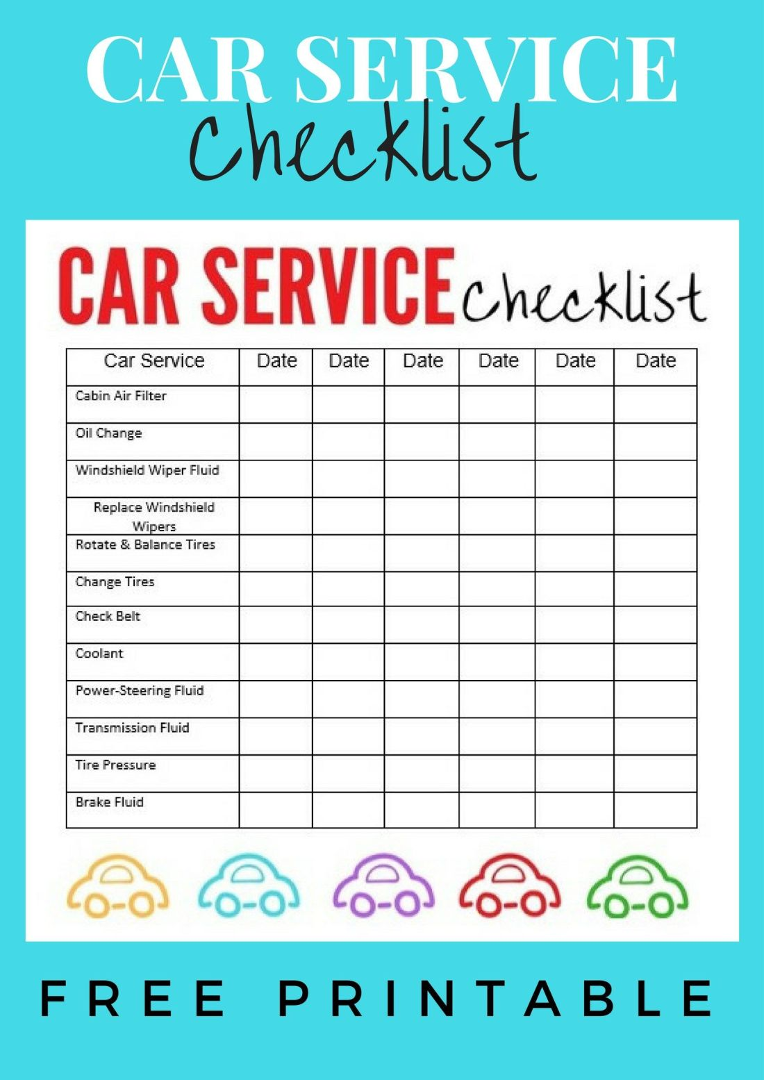 Car service checklist mini vans gloves and organizing