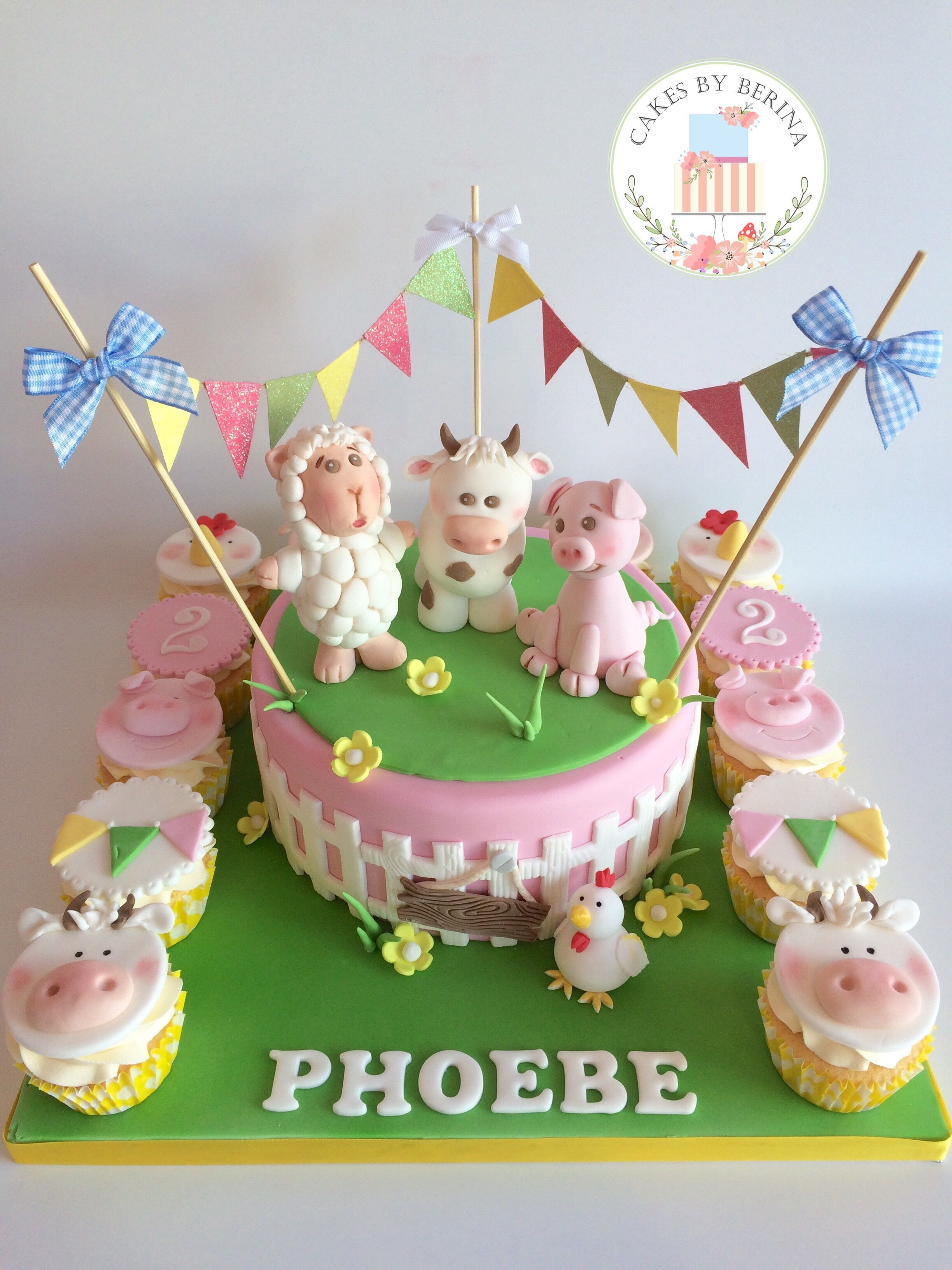 Girly Farm Animals Birthday Cake With Bunting Sheep Cow