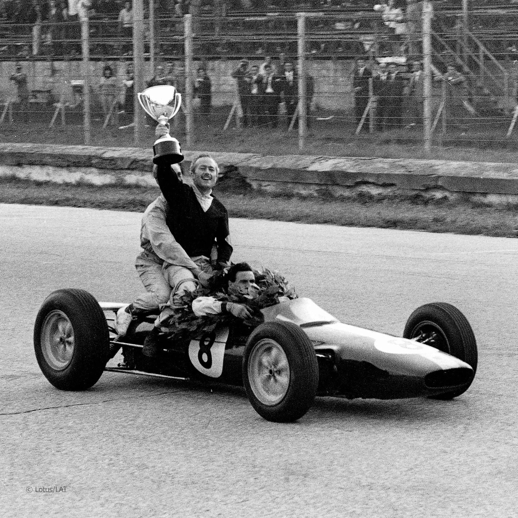Jim Clark & Colin Chapman Lotus 25 1963 Italian GP