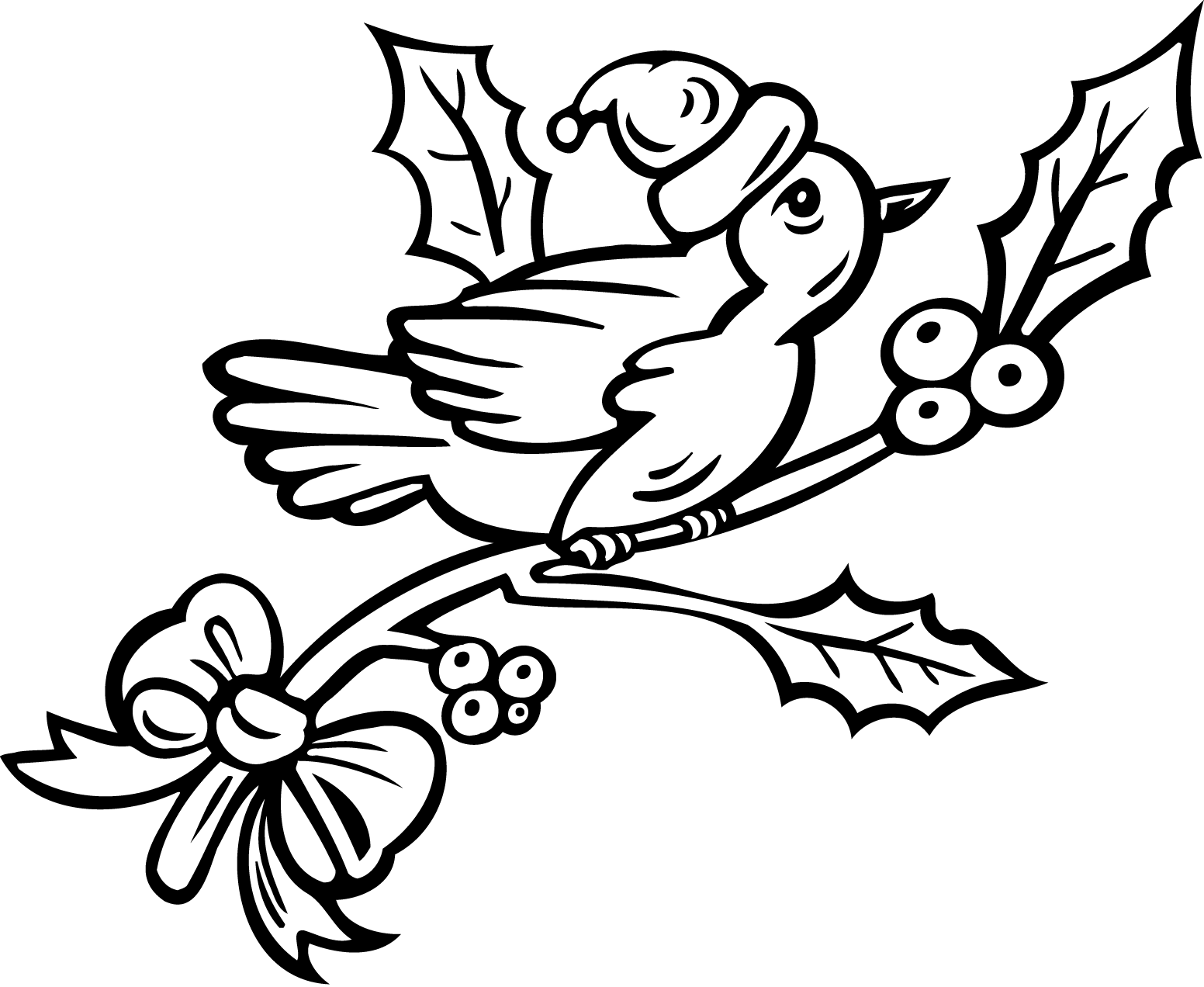 Birds On A Christmas Tree Coloring Pages