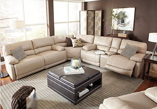 Picture Of Cindy Crawford Home Auburn Hills Taupe Leather 3 Pc Sectional From Leather Sectionals