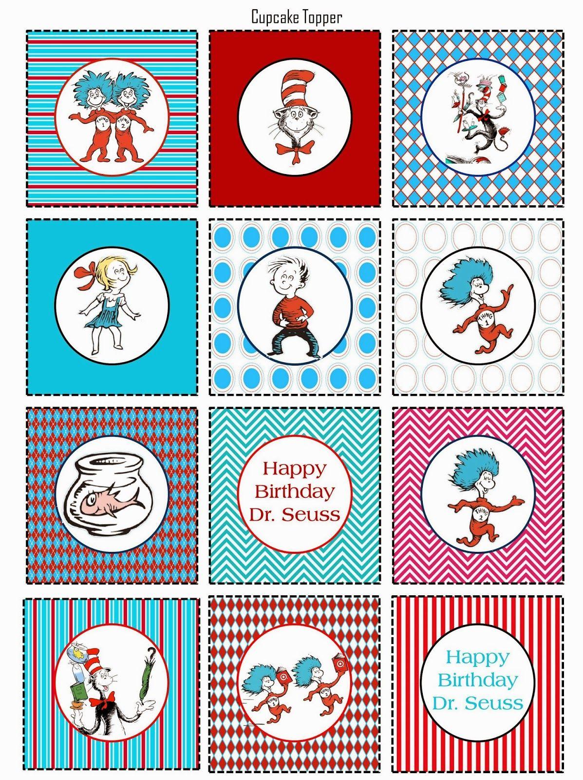 Scrap N Teach Dr Seuss Celebration Free Cupcake Topper