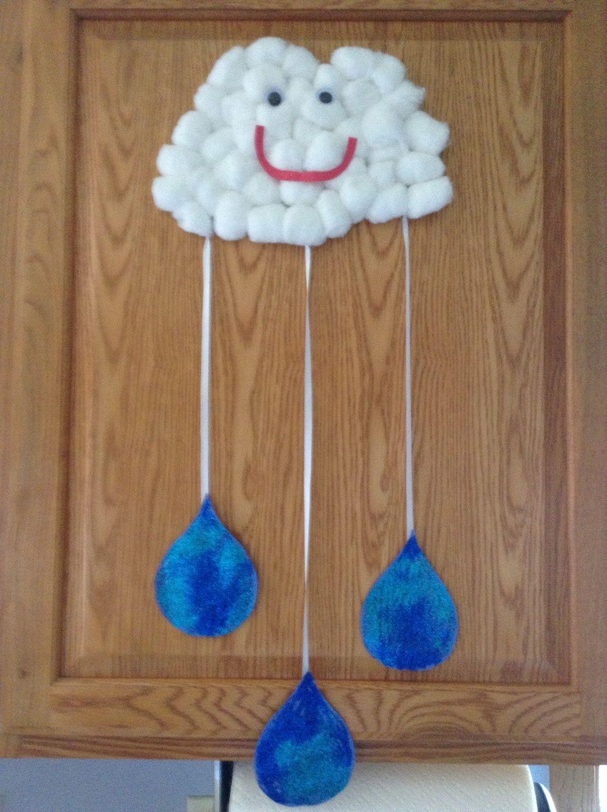 Cotton Ball Cloud And Rain Drops
