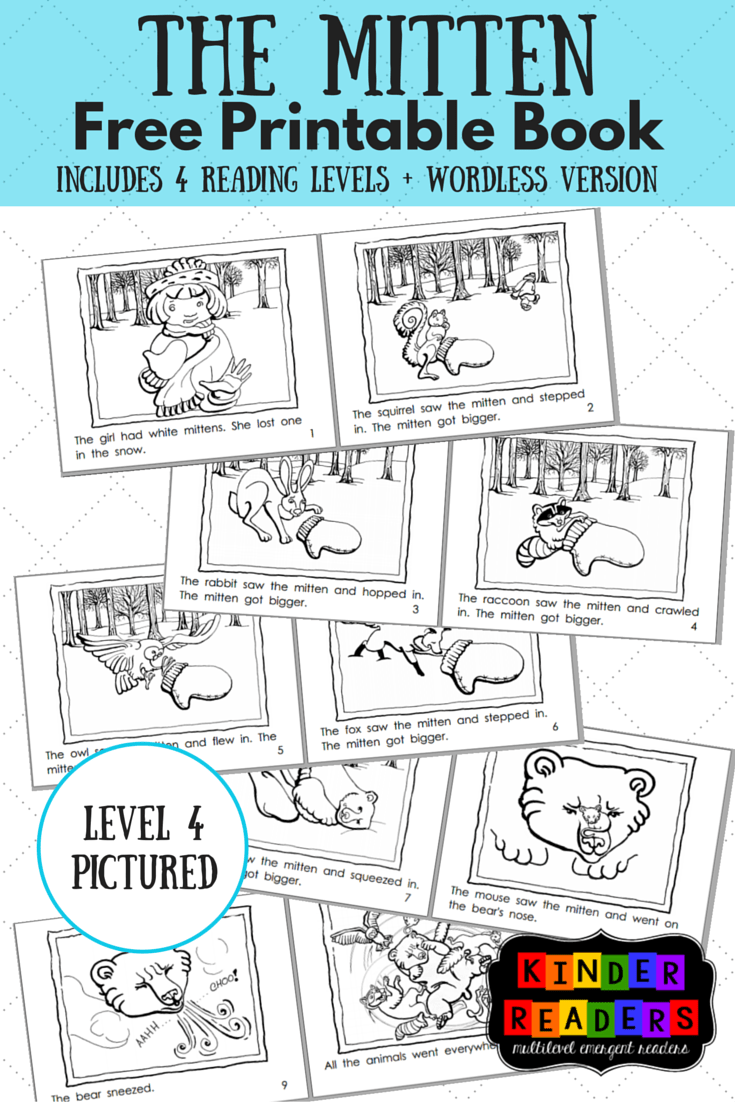 The Mitten Multilevel KinderReaders Printable Book A to
