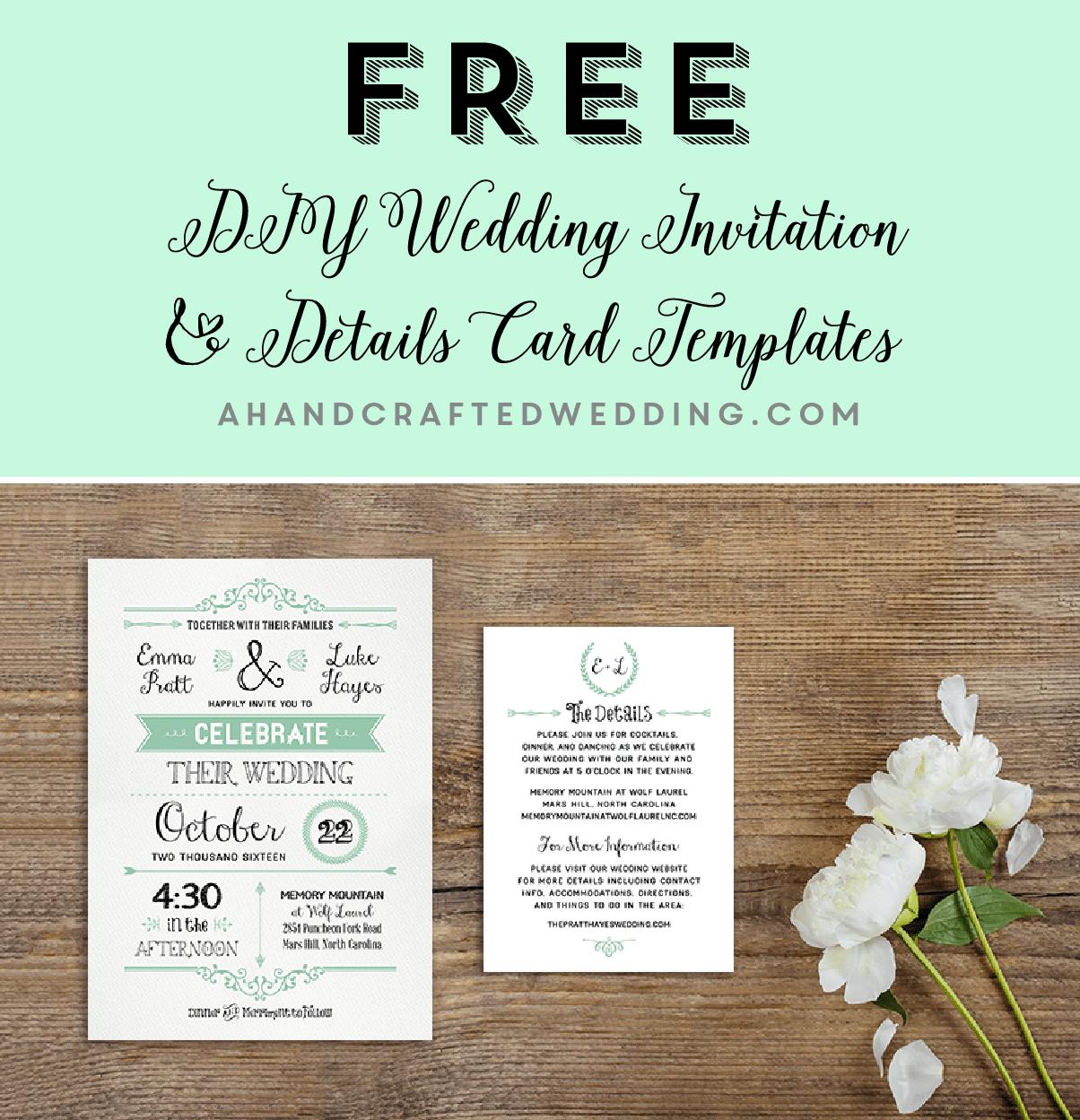FREE Printable Wedding Invitation Template Cards