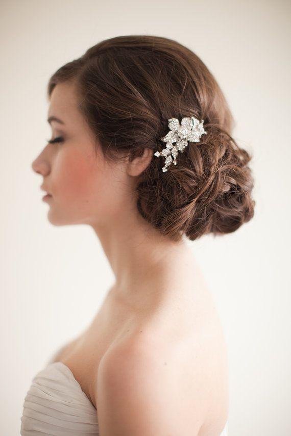 Flower Rhinestone Bridal Comb Floral By MelindaRoseDesign
