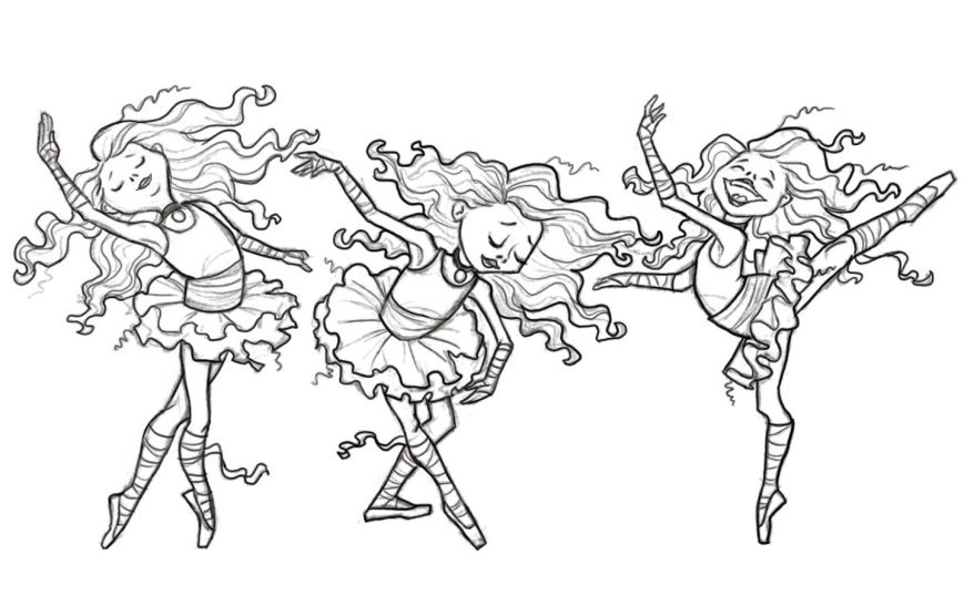 three ballerinas coloring page  coloring pages