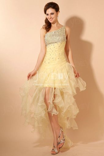 Organza One Shoulder Yellow Prom Dress Handmade Beaded   Latest Prom     2013 Style Unconventional One Shoulder Wrinkled Yellow Prom Dress With  Twinkling Crystals And Sequins