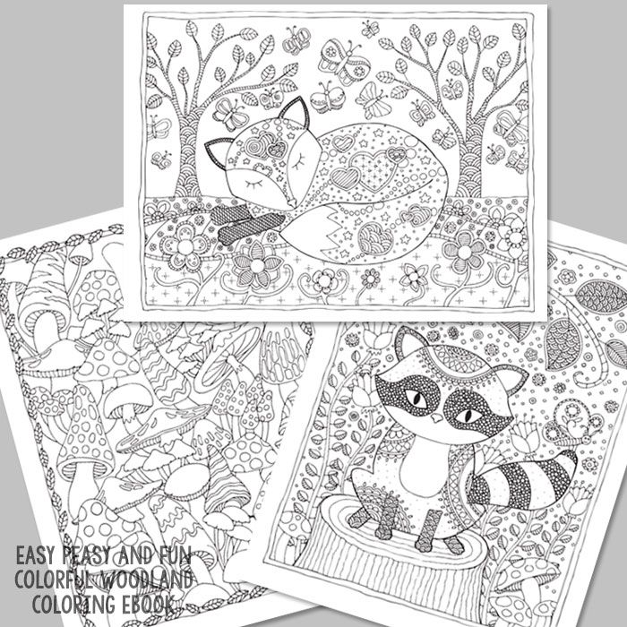 Colorful Woodland Coloring eBook Easy peasy, Easy and