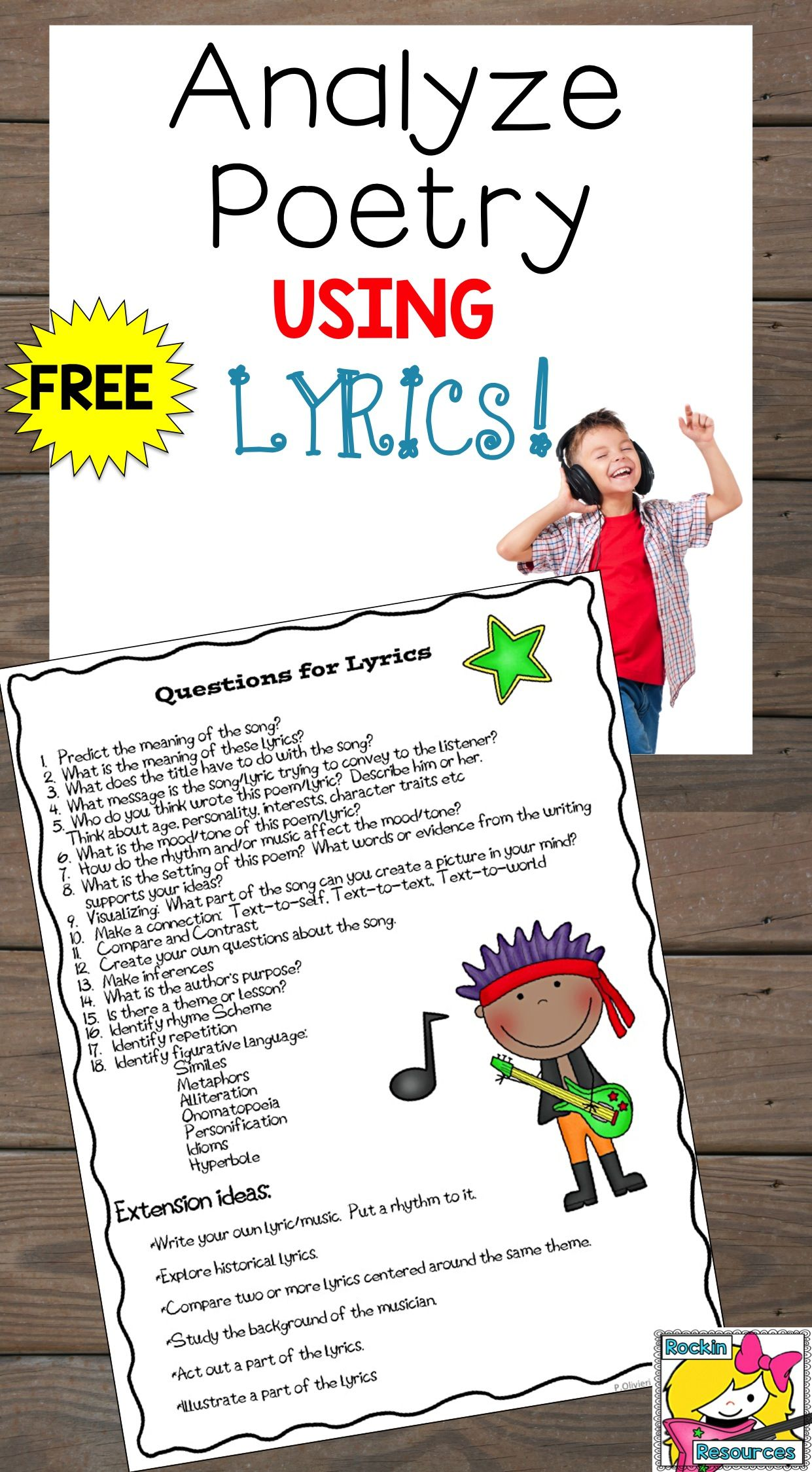 Grab This Free Printable To Help Studentsyze Poetry Using Lyrics