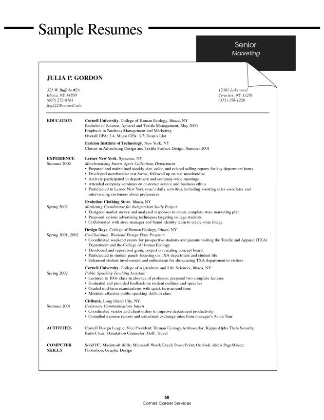 marketing student resume resume sample