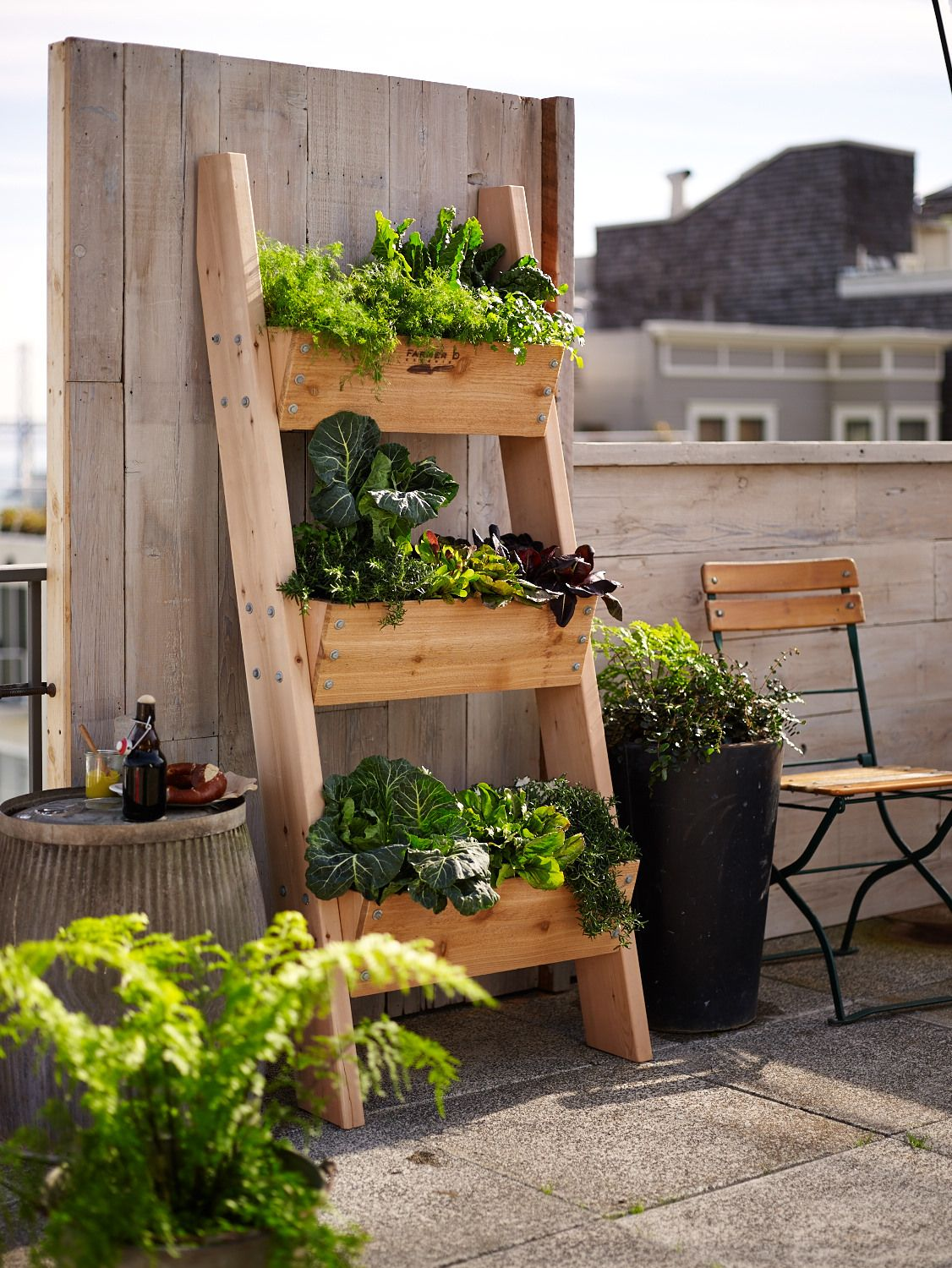 Farmer D 3Tier Vertical Wall Garden Rustic ladder