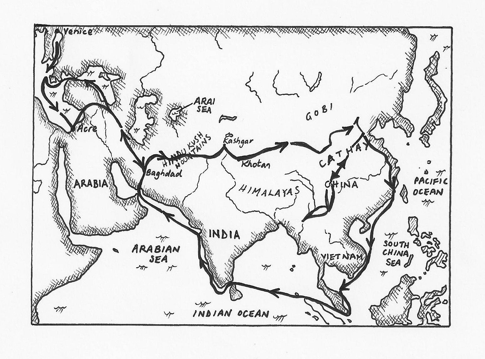 Beautiful Black And White Map Of Marco Polo S Journey We