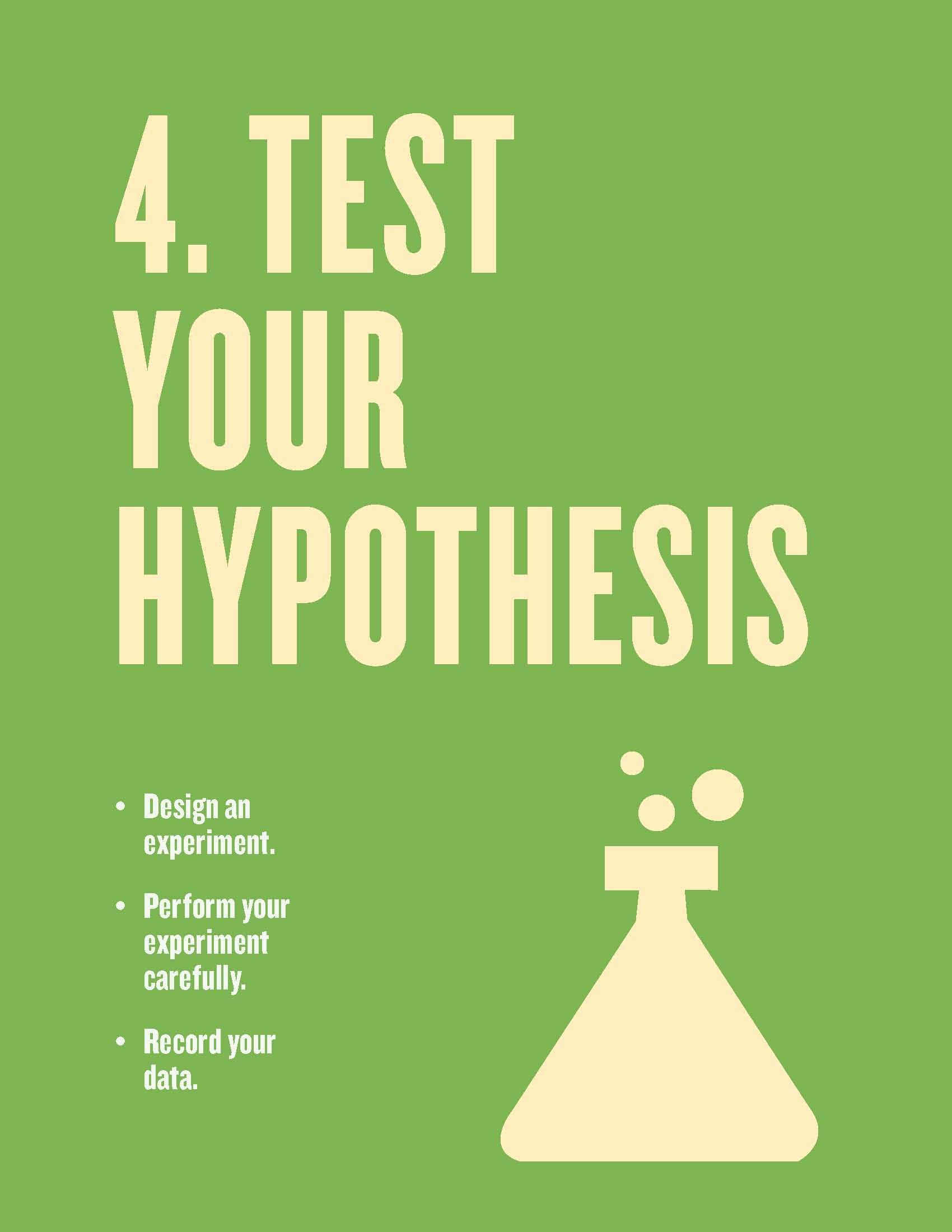 Free Scientific Method Posters For The Classroom Step 4 Test Your Hypothesis From Scholastic