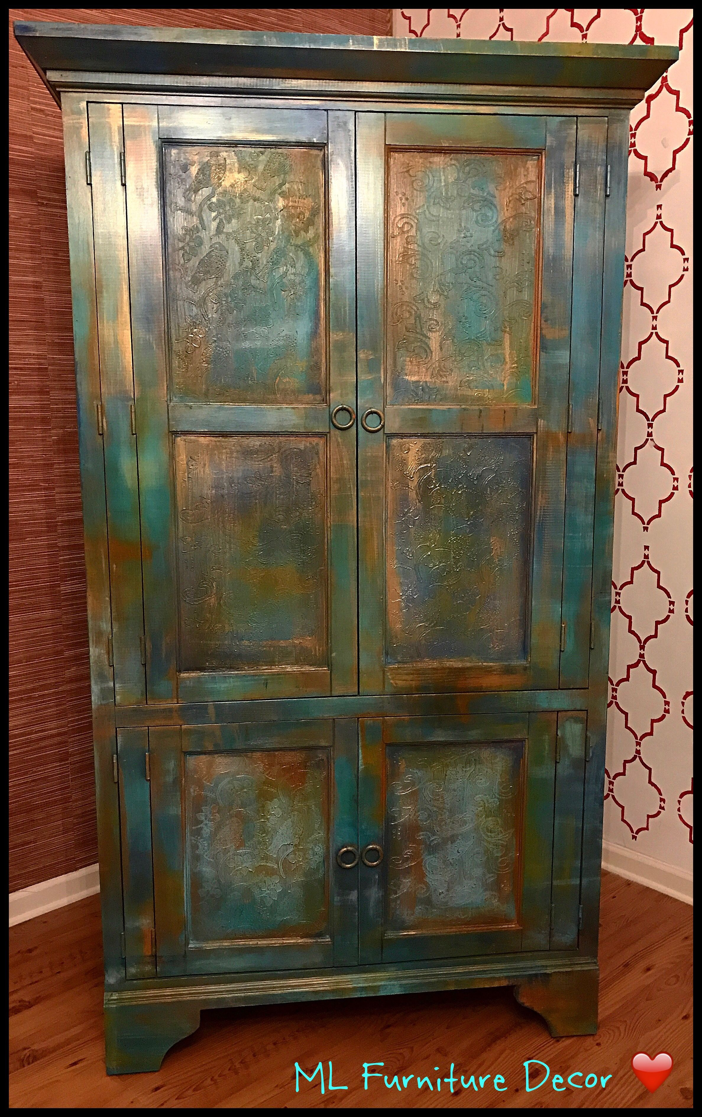 Gorgeous Armoire Refinished In Bermuda Blending Technique