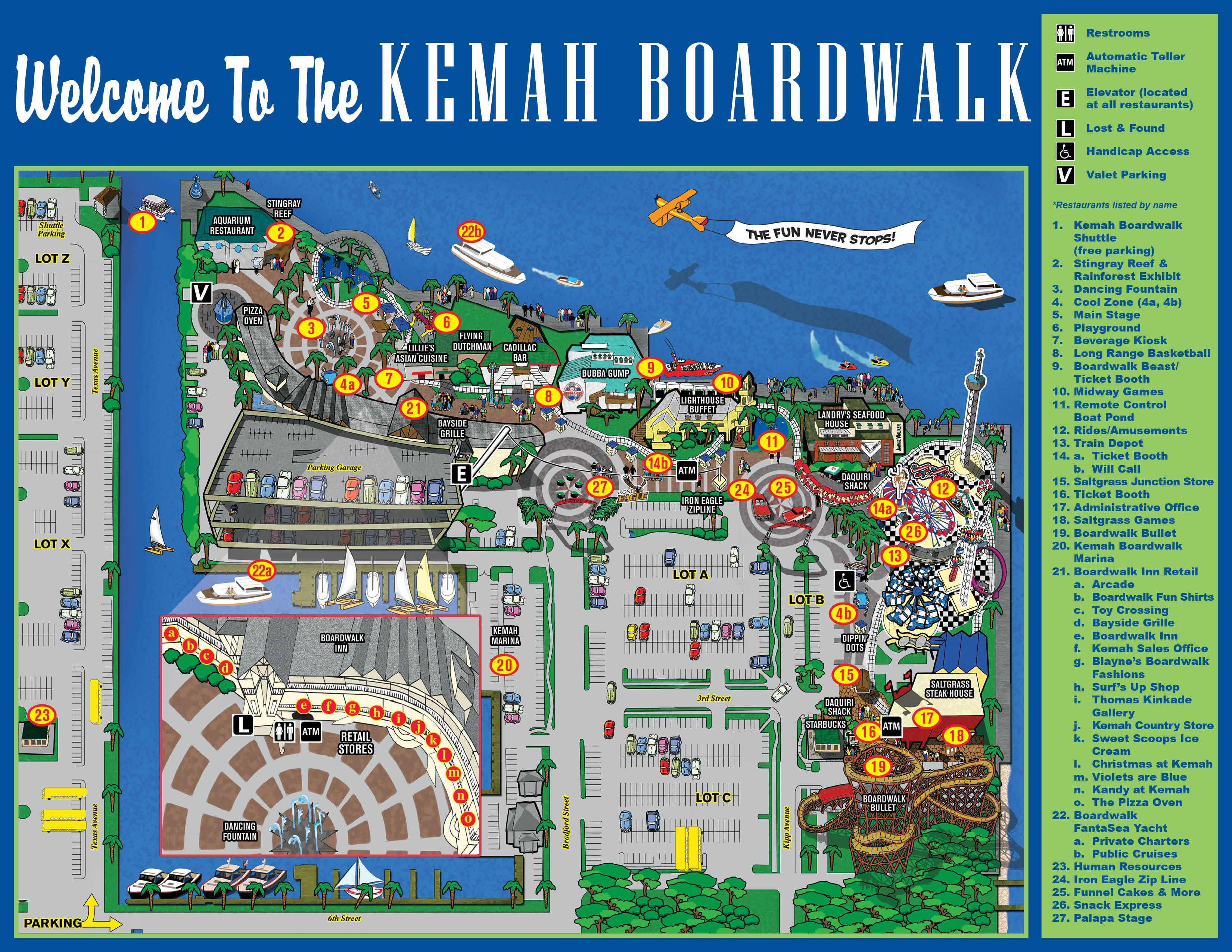 Map of kemah boardwalk Places To Go Pinterest