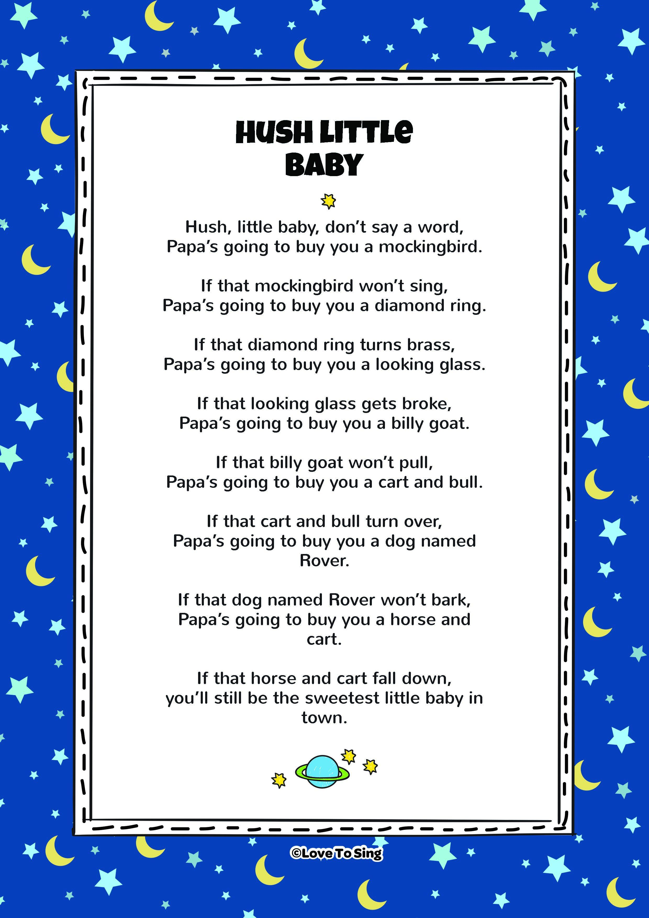 Download This Popular Kids Video Song Hush Little Baby With Free Lyrics And Fun Activities