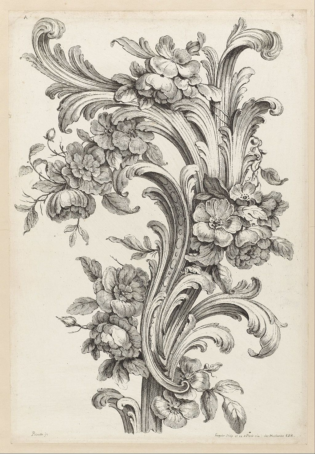 Floral and Acanthus leaf design (1740) by Alexis Peyrotte
