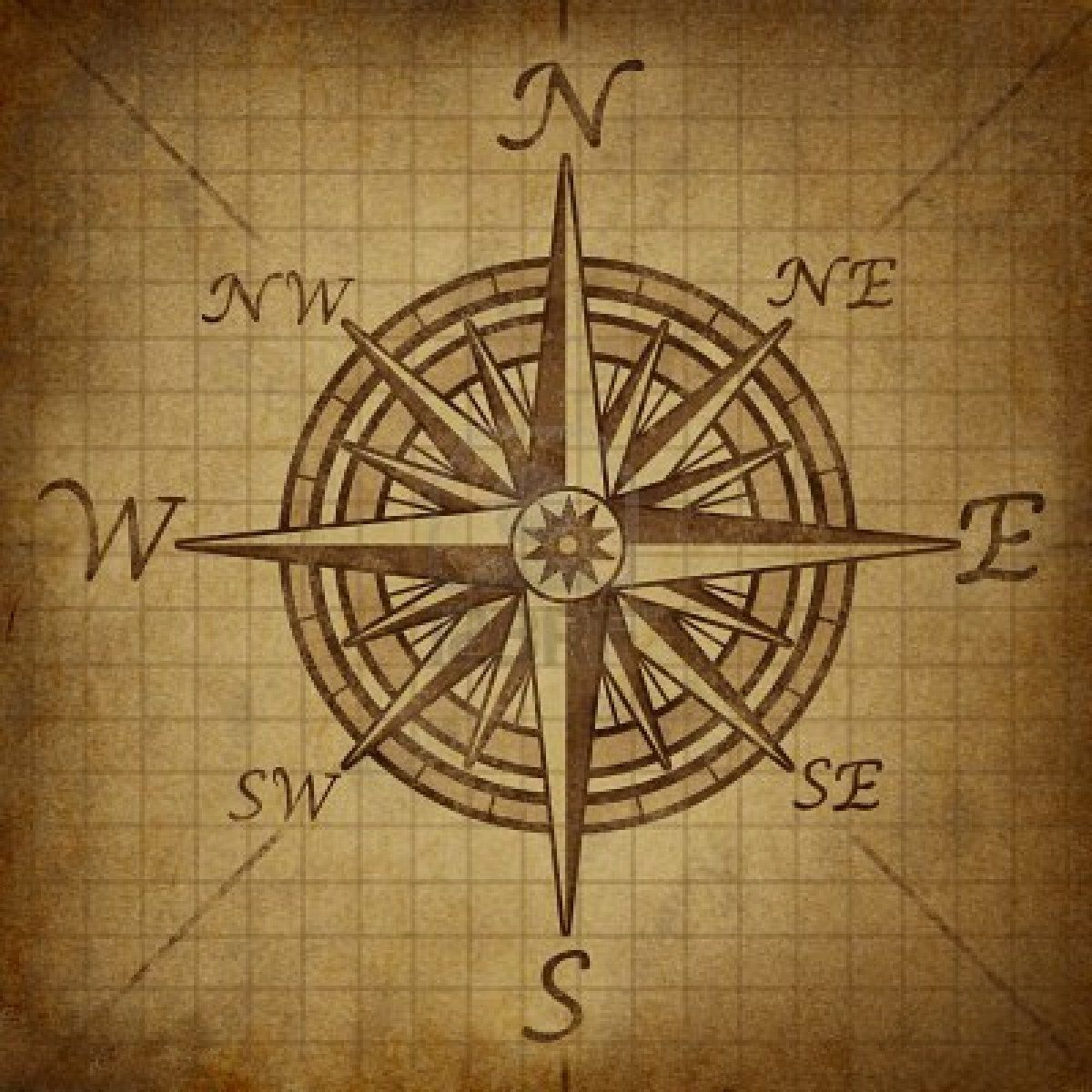 Compass Rose With Old Vintage Grunge Texture Representing