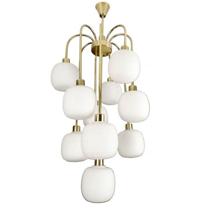 Large Cascade Italian Glass And Brass Chandelier 1960s Modernist Pendant Lamp