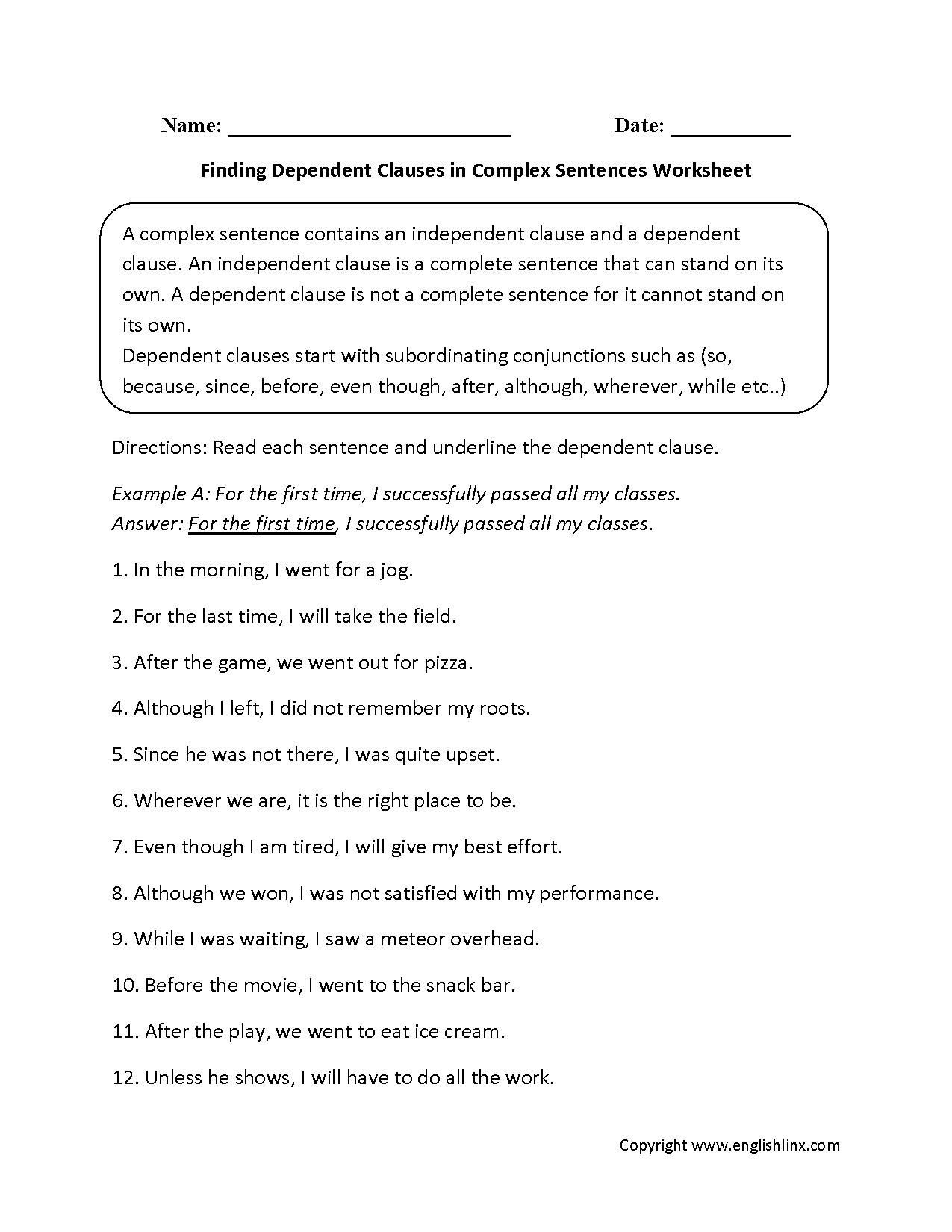 F D G Dependent Cl Uses Plex Sentences W Ksheets Gp Rr O
