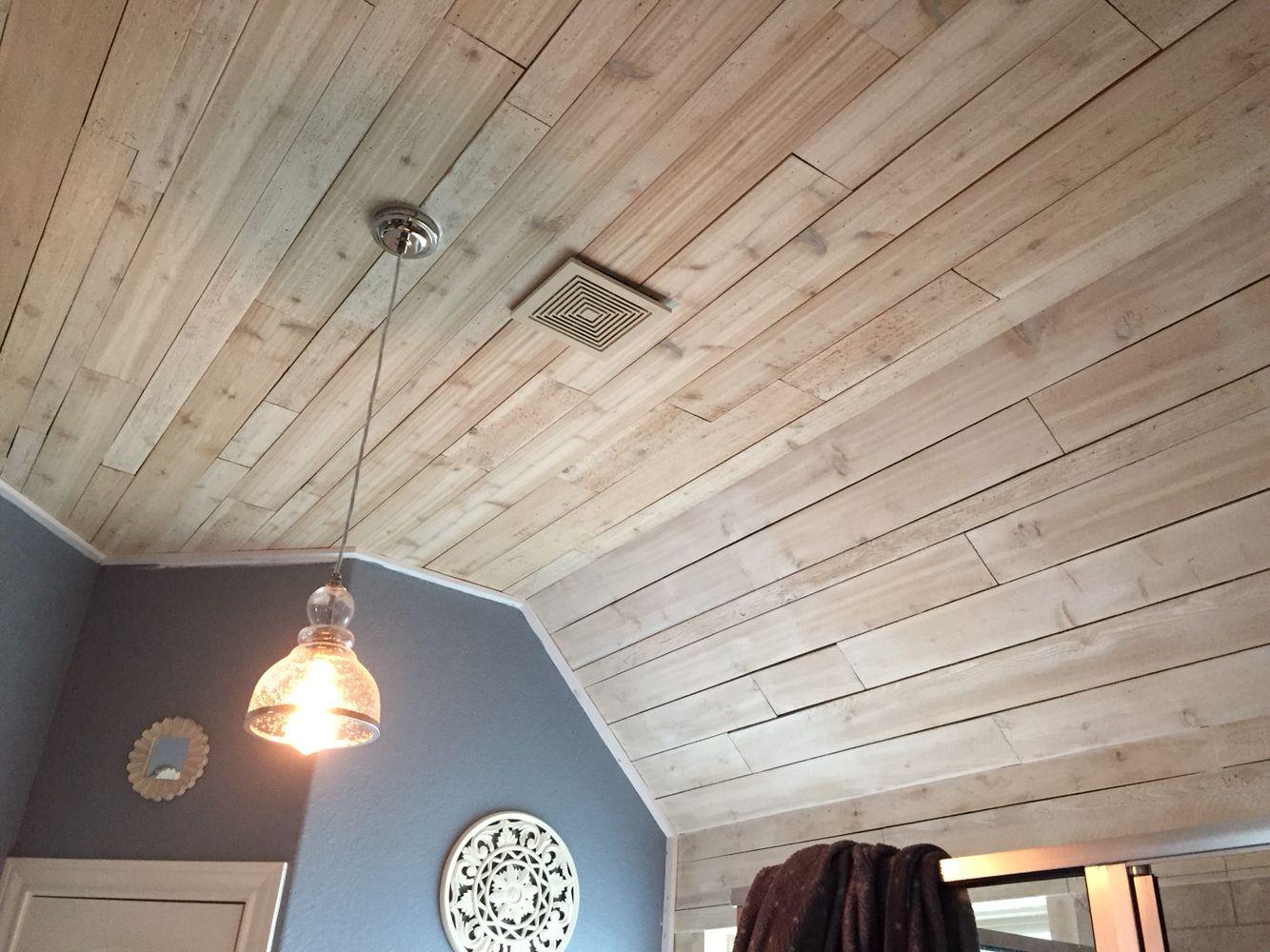 Whitewashed Rough Cedar In Master Bath On Ceiling.