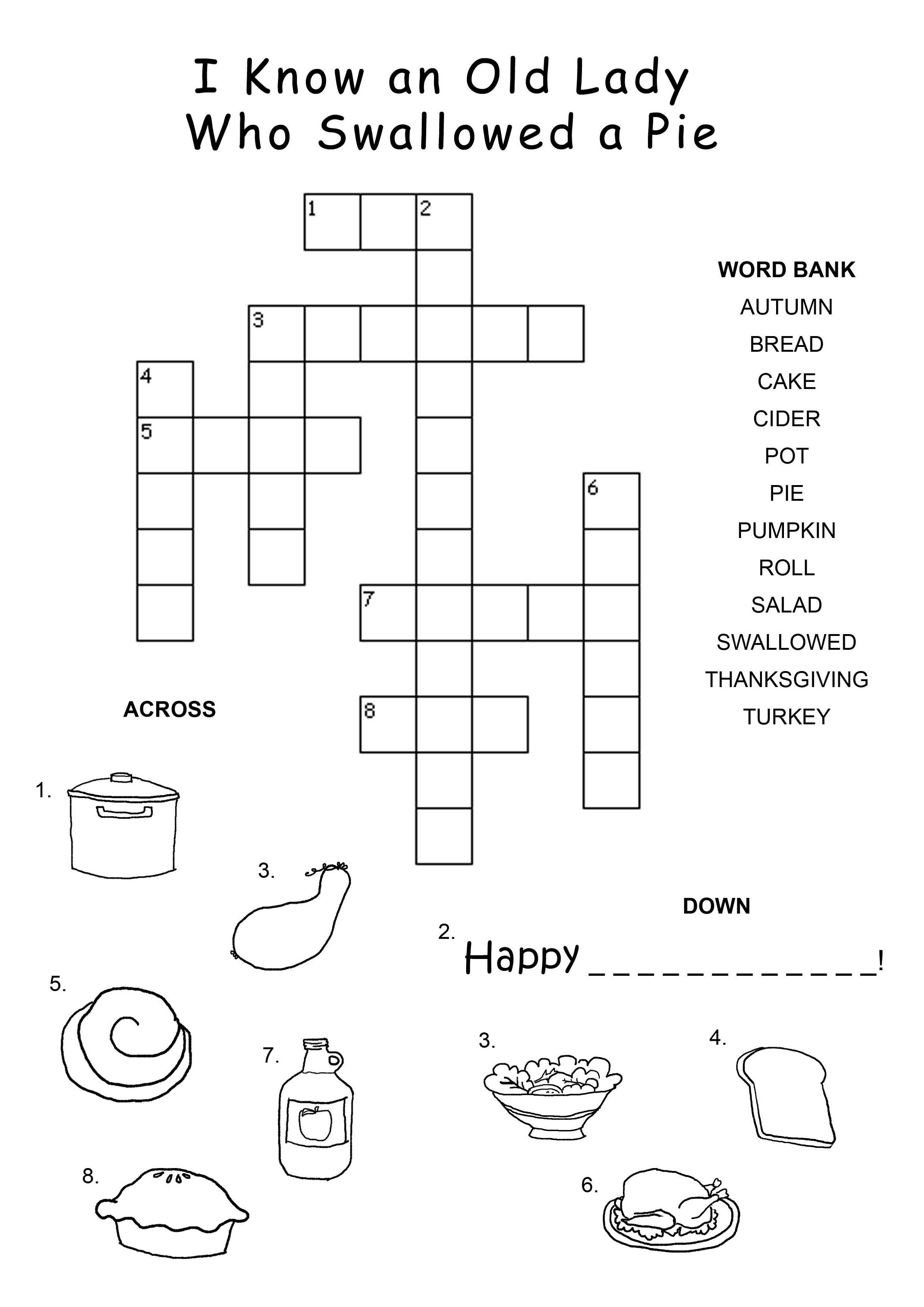 Easy Thanksgiving Crossword Puzzles For Kids
