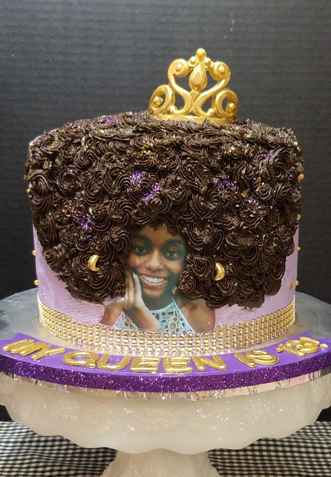 Afro Queen Birthday Cake With Fondant Tiara
