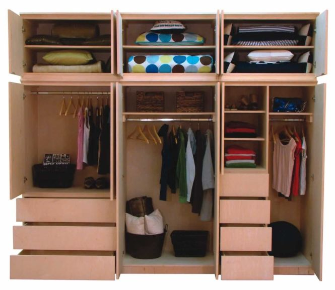Bedroom Inspiring Closet Design With Brown Wooden Organizer Designed Shelf And Cloth Hanger Also Drawers Smart Storage Solutions For Small