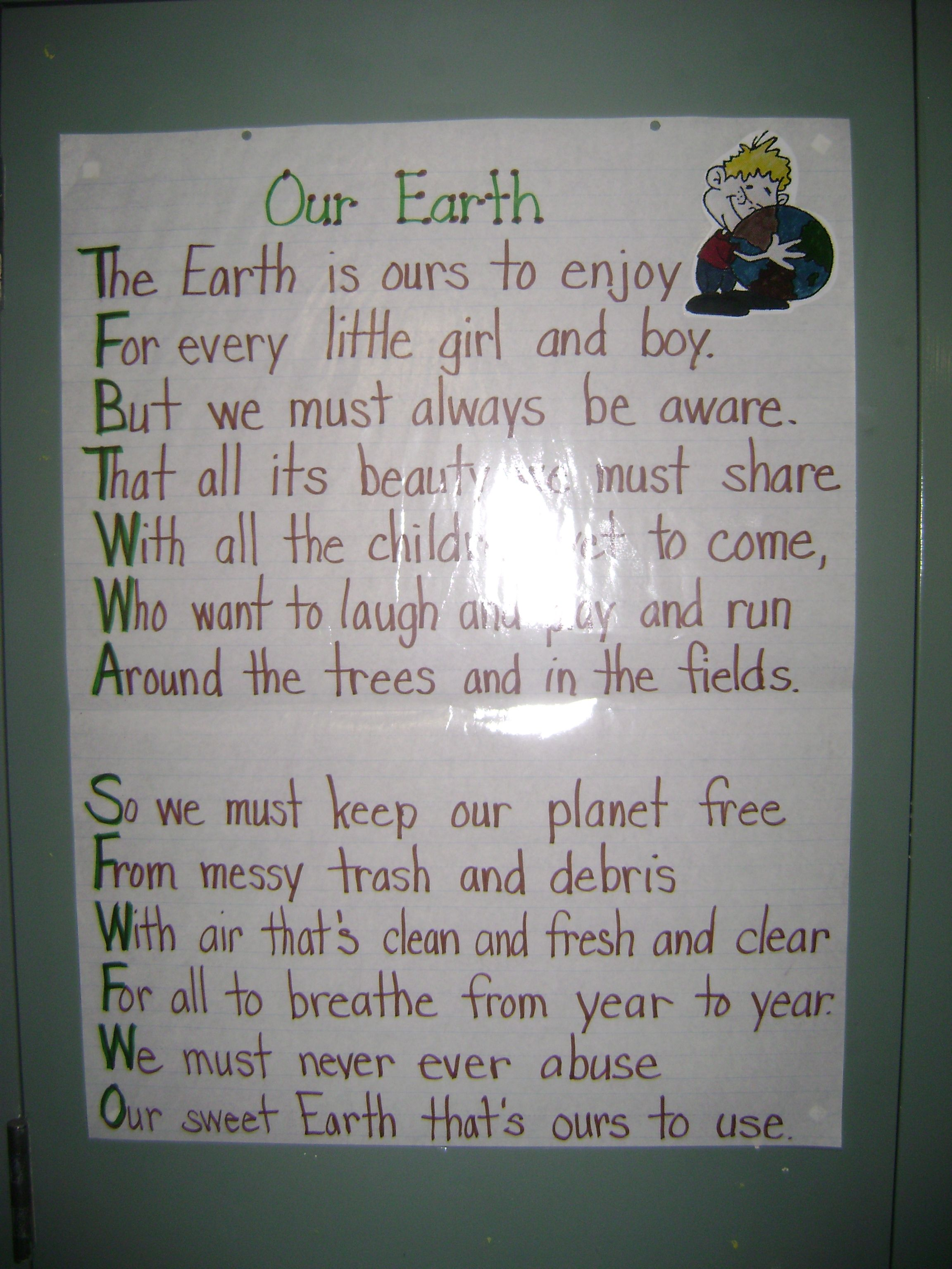 Earth Day Poem Miss Dillon S Class