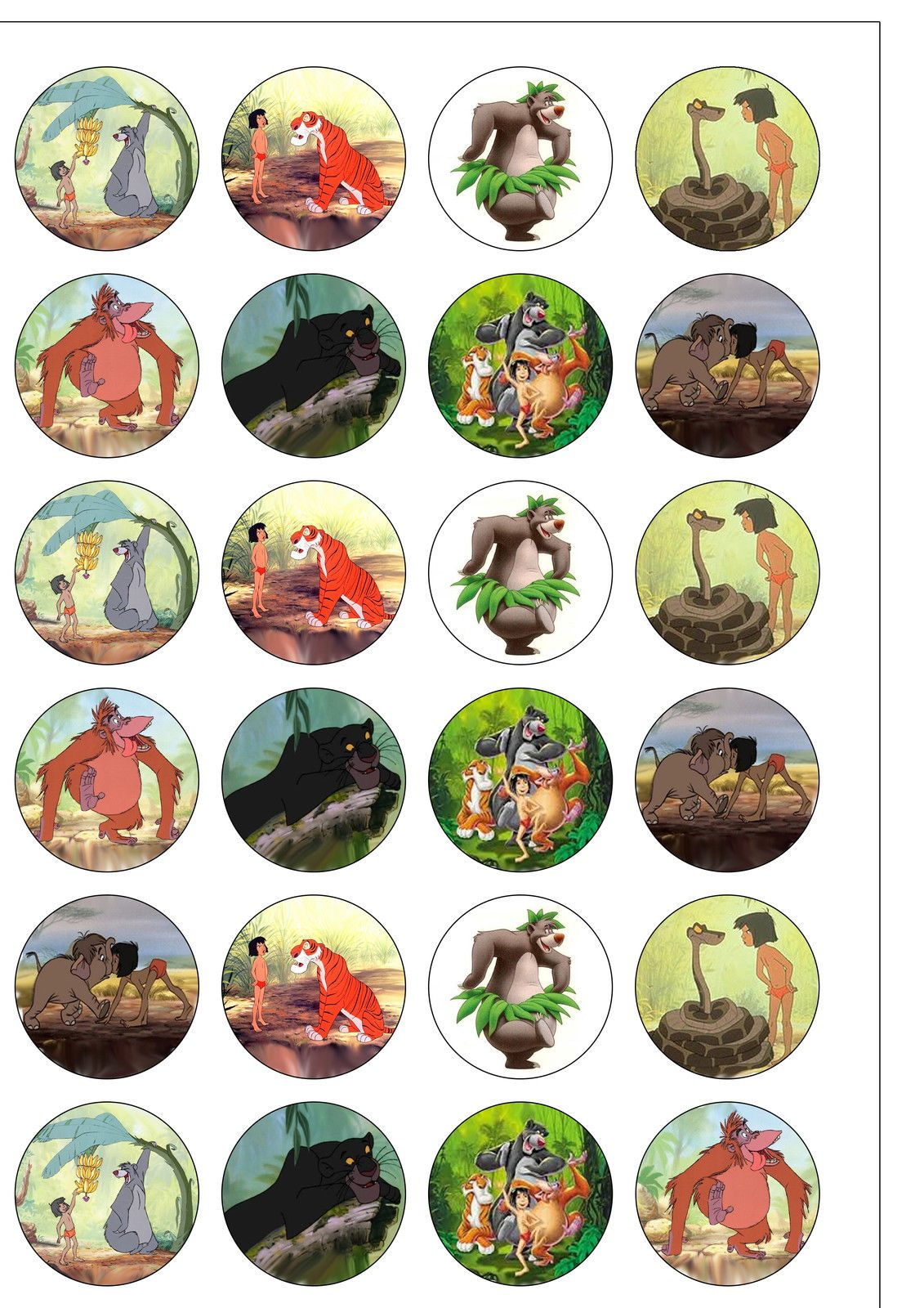 24 Precut Round The Jungle Book Edible Wafer Rice Paper Cupcake Cake Toppers