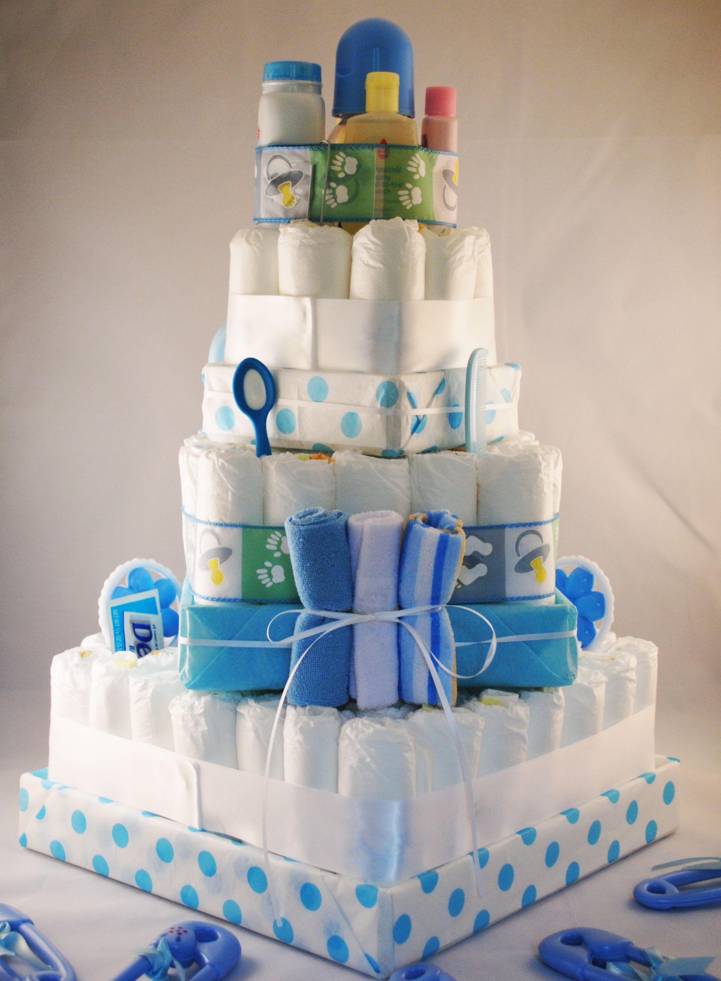 Square Polka Dot Diaper Cake