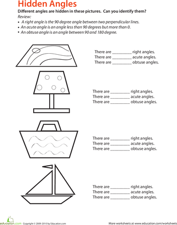 Identifying Angles Worksheets, Math and Geometry worksheets