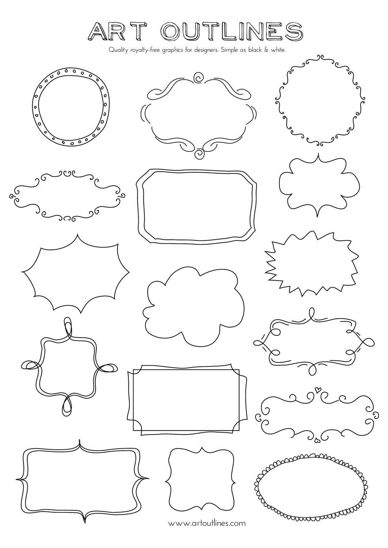 Set Of Journal Tags Amp Label Frames Art Outlines Full Page 16 Original Hand Drawn Outline