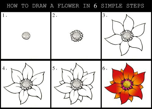 Image result for how to draw a flower step by step