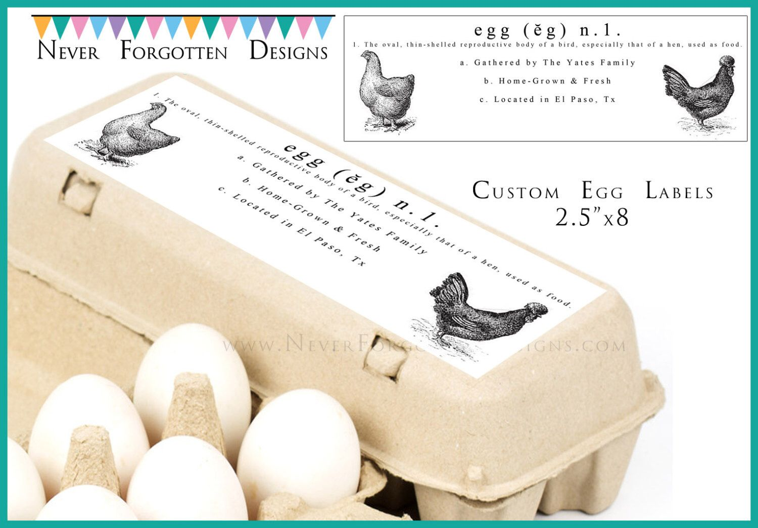 2 5 X 8 Egg Carton Labels Customized Label Perfect For
