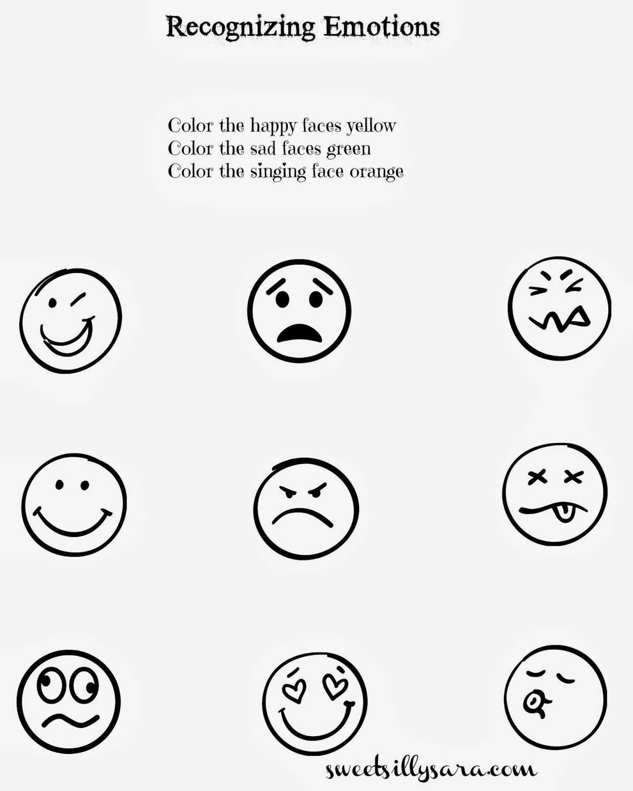Sweet Silly Sara Recognizing Emotions Worksheet For Kids