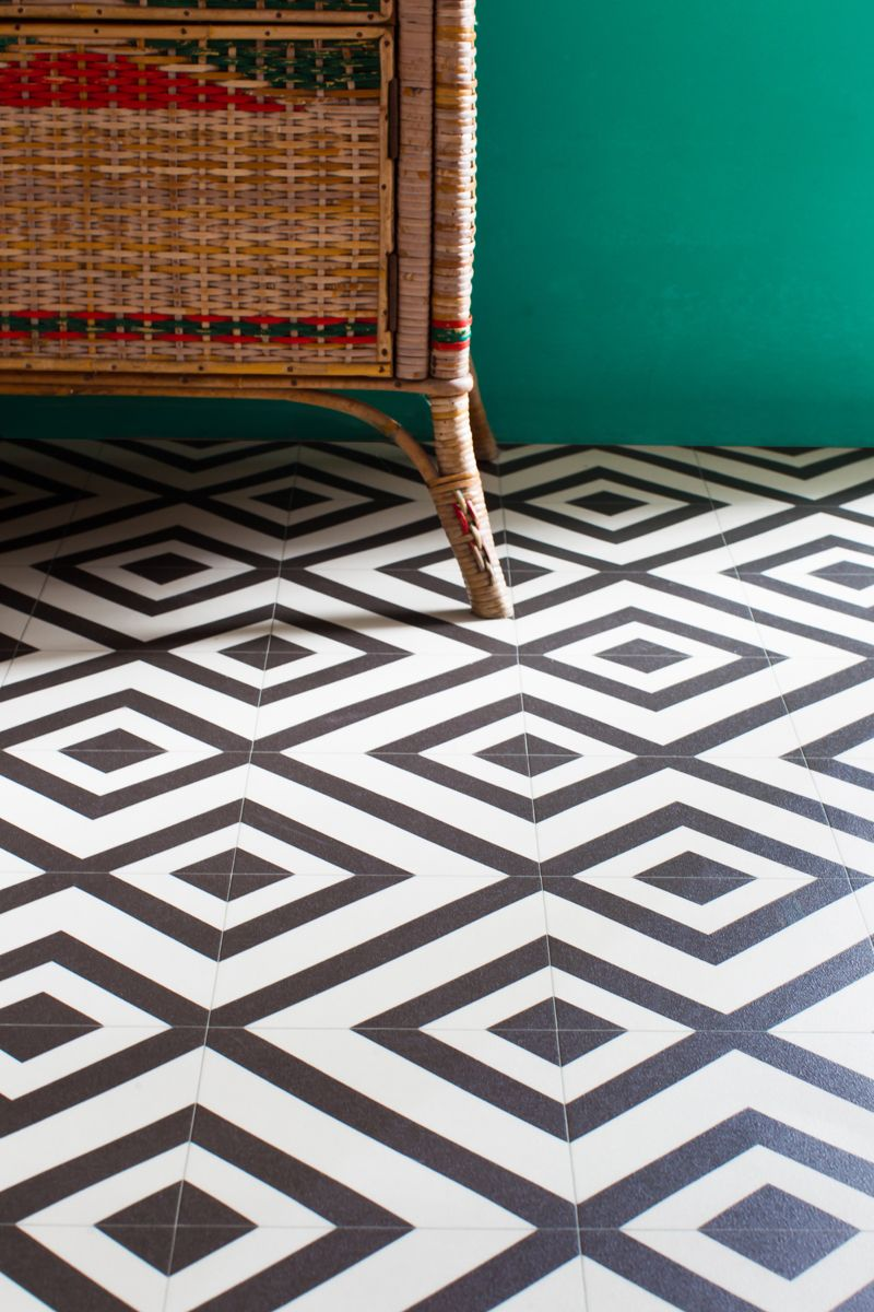 Fab black and white patterned vinyl for a modern finish