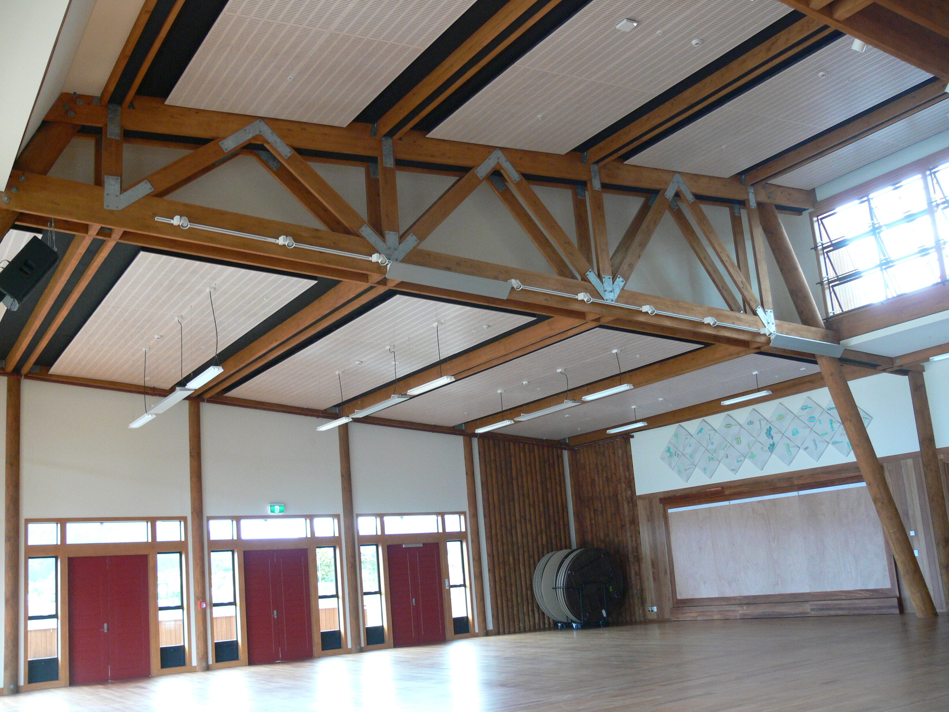 Tuhoe Living Building, Engineered Glulam trusses and