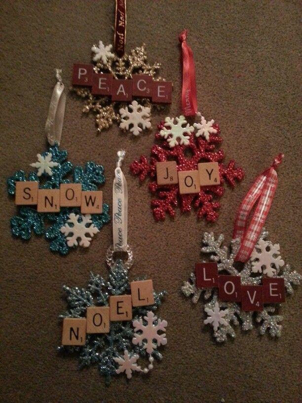 Christmas scrabble snowflake ornaments Christmas