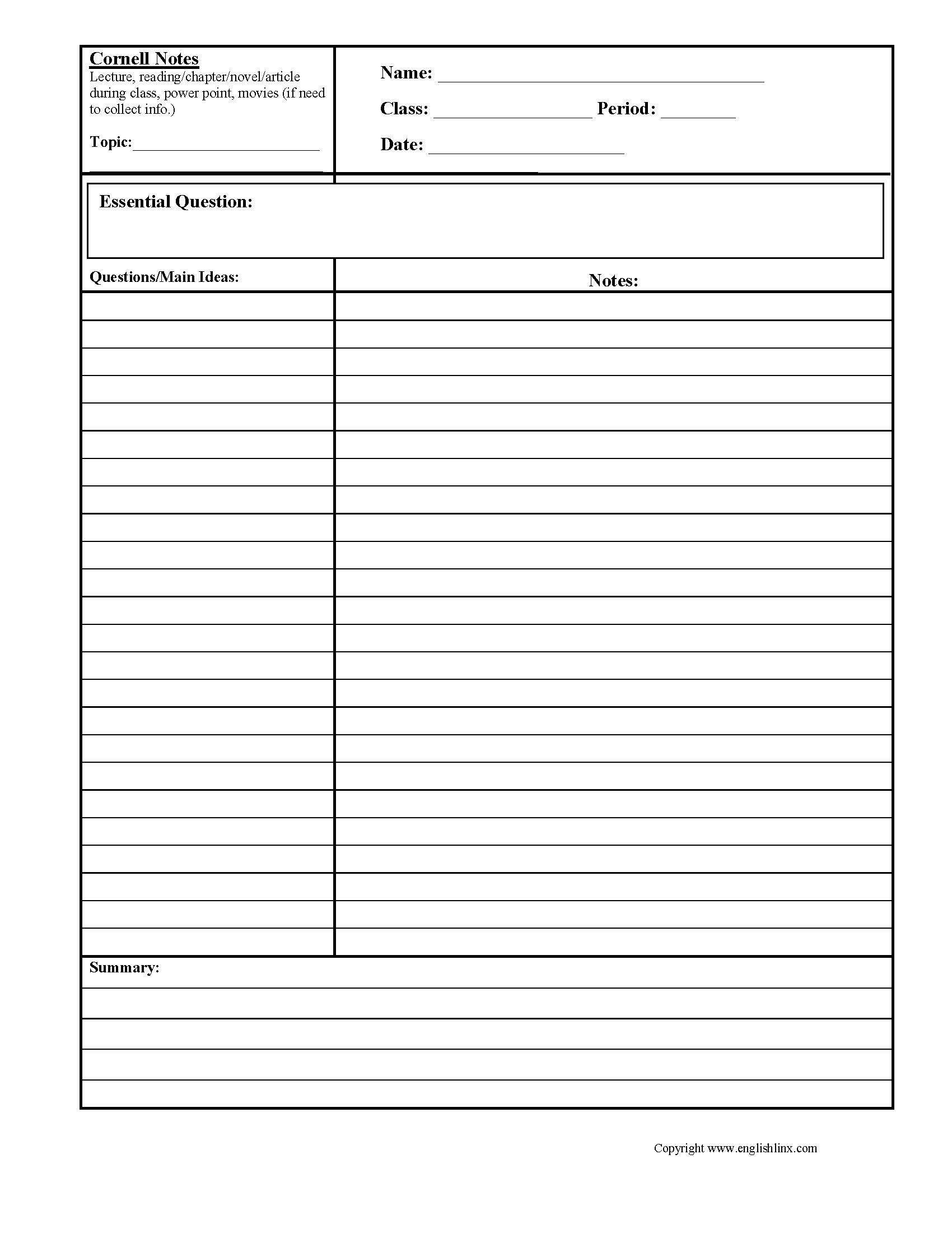 What Is Cornell Notes Used For