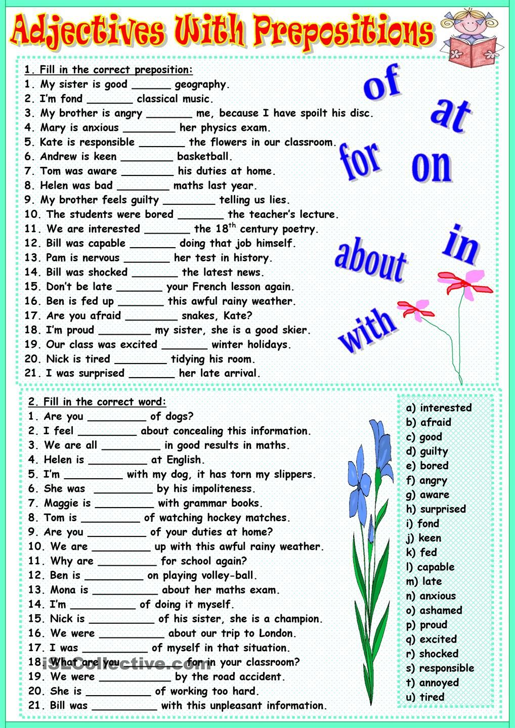 Adjectives with prepositions ingles Pinterest