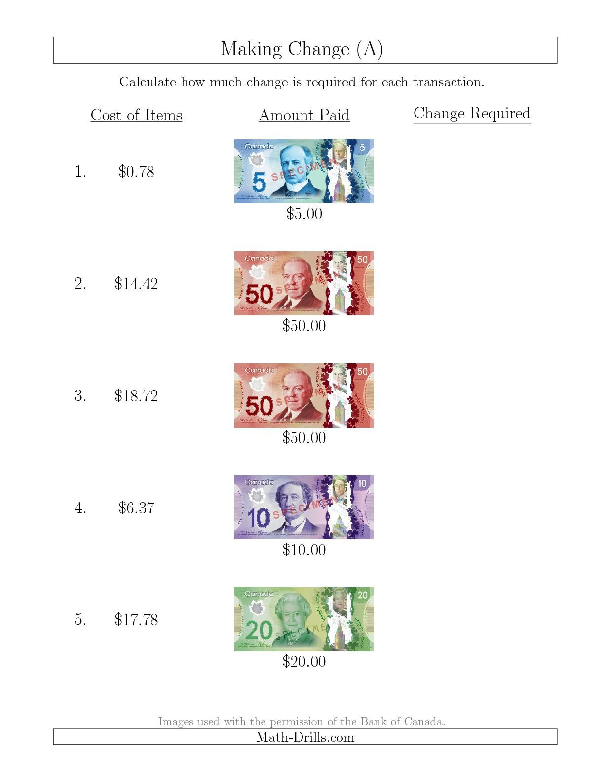 New 10 13 Making Change From Canadian Bills Up To