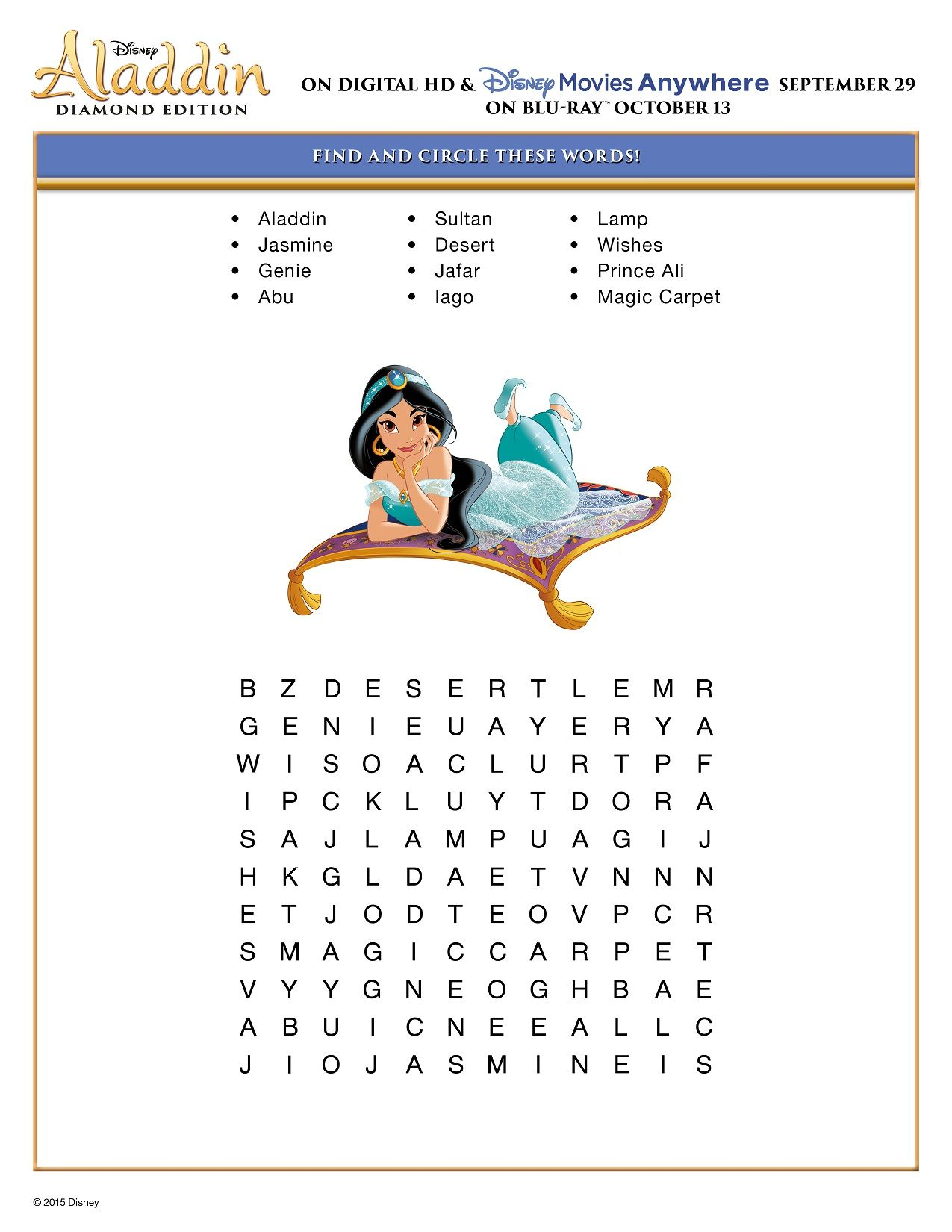 Disney Aladdin Puzzle Find And Circle Word Puzzle Activity
