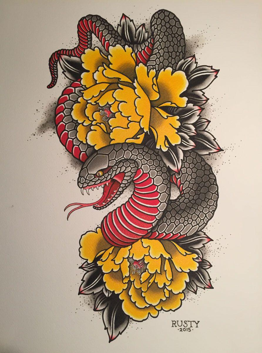 Alex Rusty Japanese snake + peony painting tattoo