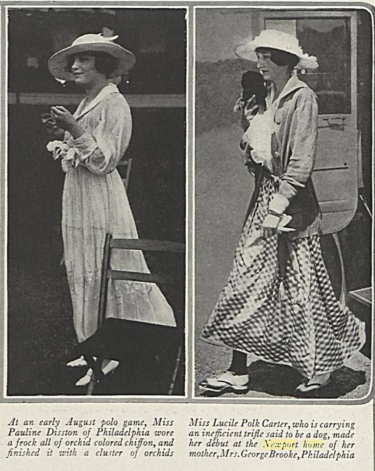 Lucile carries a dog and wears a dress and hat as she walks the polo grounds after her second marriage.