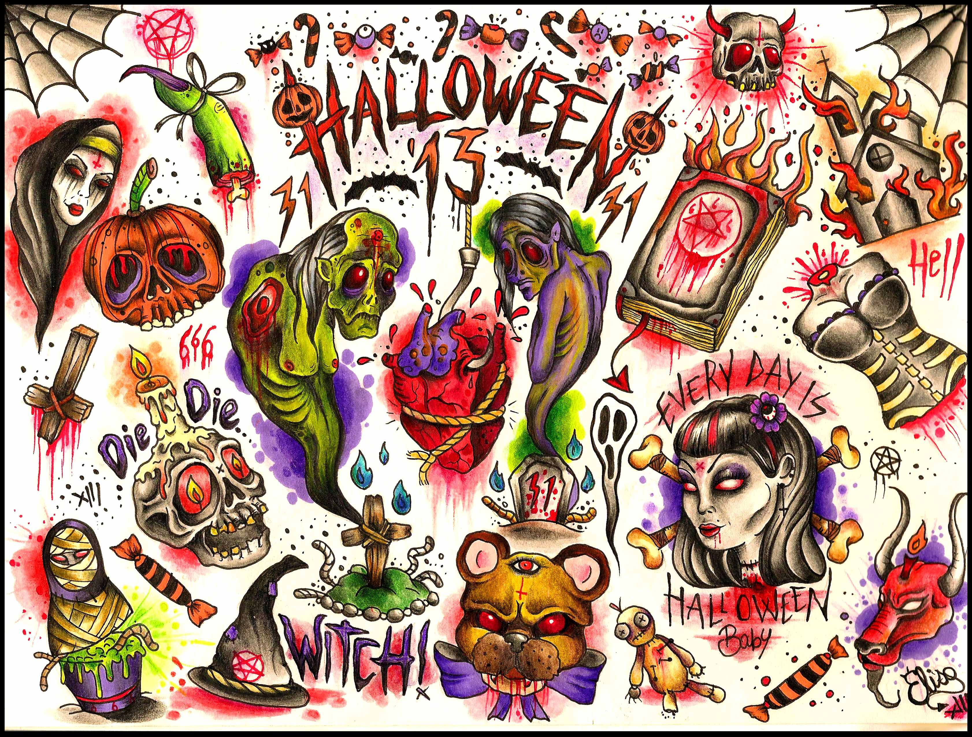 Halloween tattoo designs by Elisa Devihate contact