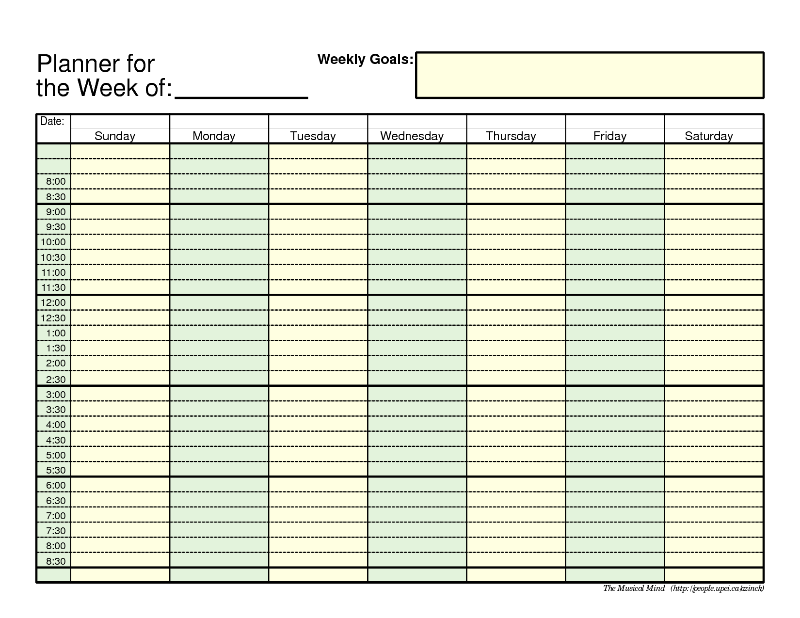 Word Planner Template