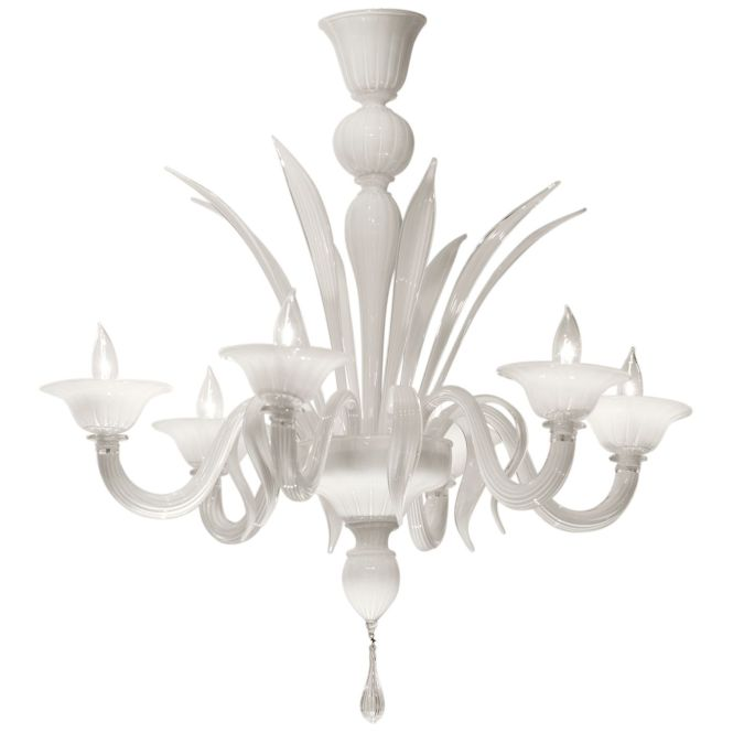 White Opaline Hand N Murano Glass Chandelier In And Clear Sommerso Layered