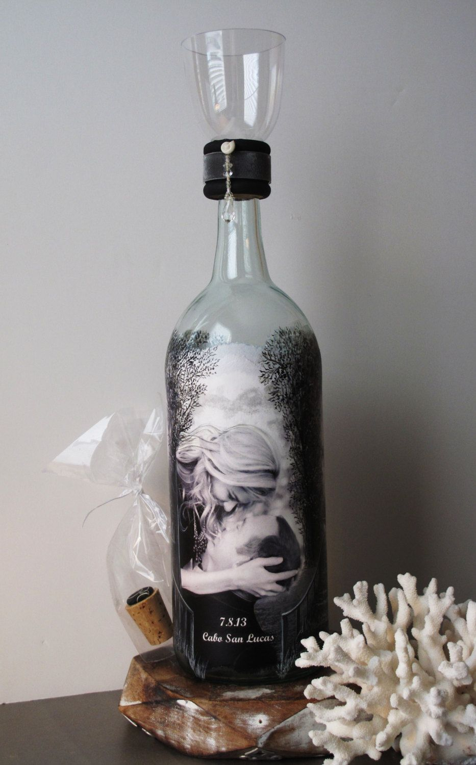 Family Unity Sand Ceremony Bottle With Your Photos Hand